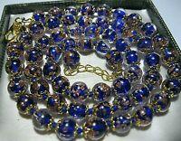 "Cobalt Blue Venetian Murano Glass Gold Foil Bead Vintage Style 25"" Long NECKLACE"