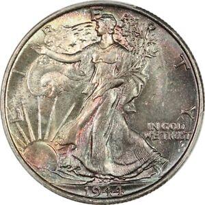 1944 Gem BU Walking Liberty Half Dollar - PCGS MS65 CAC - Nice Rainbow Color!