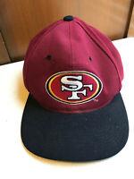 vintage San Francisco 49ers Logo Adjustable NFL Red Black Bill Hat used 90s ANI