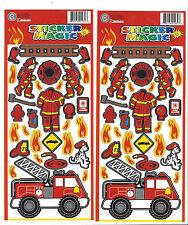 Fireman Sticker Sheets Lot of 2 Fire Deptartment Kids Fire Truck Safety Stickers