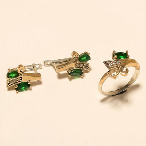 Natural African Green Emerald Two Tone Ring Earring 925 Sterling Silver Jewelry