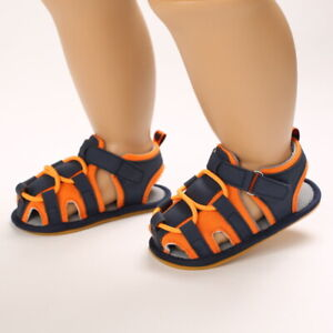 Newborn Baby Boys Closed Toe Rubber Soft Sole Summer Outdoor First Walkers Shoes