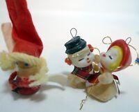 Vintage Hand Crafted Denmark Wood Santa Ornament 2 Felted Snowmen Japan