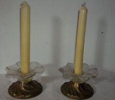 2 vecchio Lampadario di tabella - portacandele in ottone - ciotola vetro -
