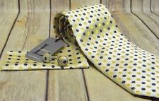 LANDISUN Yellow Black Polka Dot Pattern Mens Silk TIE SET Tie Hanky Cufflinks