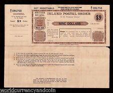 BRITISH GUIANA $9 1900's MINT POSTAL ORDER Water Loo LONDON RARE GUYANA MONEY