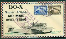 GERMANY 1932 DOX Flight w/2mk & 4mk tied by on-board cancel on ROESSLER cover