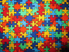 PUZZLE GAME PIECES AUTISM AWARENESS COTTON FABRIC BTHY