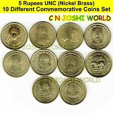 Very Rare 10 Different Nickel Brass 5 Rupees Commemorative Five Rupees Coins Set