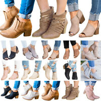 New Womens Ladies Zipper Peep Toe Ankle Boots Mid Block Heel Casual Shoes Size