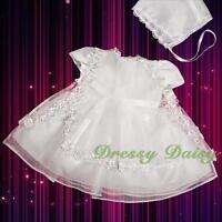 Lace Baptism Christening Flower Girl Occasion Dress Bonnet Size 000 00 0 1 FG092