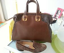 Authentic Fendi chameleon handbag with fur stingray brown sz Large