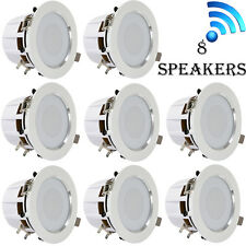 4'' Bluetooth Ceiling/Wall Speakers, (8) 2 Way Speakers with Built-in L