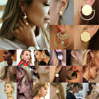 Elegant Women Gold Silver Statement Stud Earrings Hook Drop Dangle Jewelry