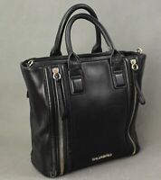 KARL LAGERFELD Black Leather Zip Detail TOTE HANDBAG / Hand Bag