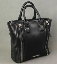 KARL LAGERFELD Black Leather Zip Detail TOTE HANDBAG / Hand Bag