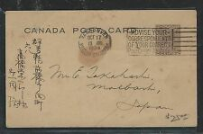 CANADA  (P2504B) KGV 1934 2C  PSC VANCOUVER  TO JAPAN