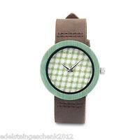 Damen Uhr Armbanduhr Quarzuhr Analog Lederband Holz Watch Grün Gitter 24cm