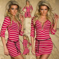 Top Women Mini Dress Ladies Jumper Pink Clubbing Striped Pullover Size 8 10 12