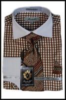 Fratello Brown Gingham Plaid White Spread Collar Dress Shirt FRV4115P2