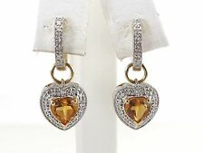 14k Yellow and white Gold Diamond And Topaz Heart Earrings