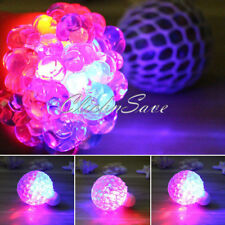 New 2 x Glowing Squishy Mesh Venting Ball Grape Squeeze Anti-Stress Sensory Toy