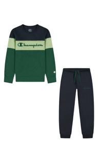Champion Garçons Sweat Costumes Ras Du Cou Athlétique Vert Capuche Bleu Pantalon