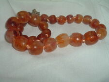 Vintage Faceted Amber Lucite Hand Knotted Necklace