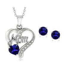 """925er Silber Künstlicher Blauer Saphir & Diamant Akcent Herz """"MOM"""""""