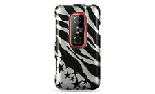 For Sprint HTC EVO 3D Hard Case Phone Cover Silver Star Zebra