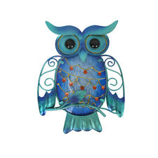 Metal & Glass Owl Wall Decor hanging sculpture for patio, porch, room
