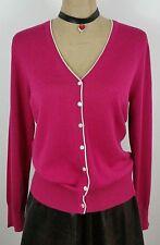 Brooks Brothers Womens Silk Cardigan Sweater Vneck Magenta Pink Medium New