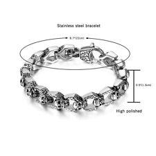 """Men's Gothic Biker Vintage Stainless Steel Skull Bracelet Chain Wristband 8.5"""""""