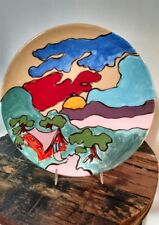 "10"" ceramic plate beautifully painted landscape from the mid-90s"