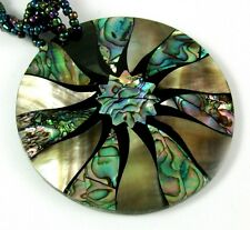 Natural Abalone Shell, Mother of Pearl Pendant Bead Necklace Women Jewelry FA230