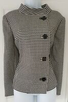 Womens Precis Black White Check High Neck Virgin Wool Formal Work Jacket New 14.