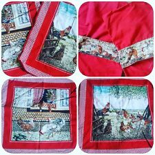 2 X Vintage Country Cottage Red Farmhouse Cotton Cushion Covers