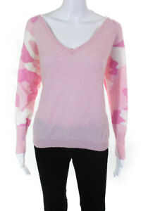 Brodie Womens Cashmere Long Sleeve V Neck Sweater Pink Size Small