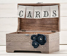 Wedding Card Box Holder with Burlap and Lace Cards Banner Rustic