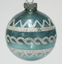 Silver Design Blue Glass Ball Vintage Christmas Decoration Ornament Made In USA