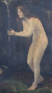 OTTO LINGNER Original Signed Female Nude Painting c1900 Woman Antique