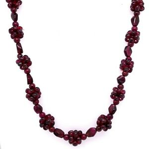 "Estate Garnet Artisan 26"" Beaded Necklace! 237"