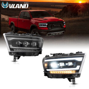 VLAND LED Headlights Fit For Dodge Ram 1500 2019-2021 Projector LH+RH Assembly