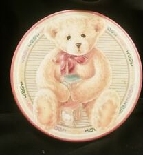 Teddy Bear Playing with Blocks Tin with Abc's On a Burgundy Background On the Si
