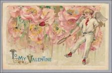 Tennis Cupid Valentine Schmucker Winsch 1910 Vintage Postcard