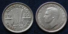 MONETA COIN AUSTRALIA KING GEORGE VI° THREE PENCE 1942 - ARGENTO SILBER SILVER