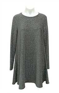 Glamorous Silver Sparkly Long Sleeve Dress Size M 10 12 Party Work Above Knee