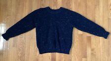Vintage Gap Mens Ski Sweater M Blue Neon Tweed 100% Wool Ribbed Knit Pullover