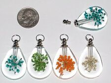1 facet Pressed Flower vial necklace pendant small Glass bottle Screw cap NEW**