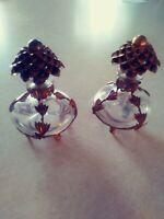 2 Art Deco Perfume Bottles w/dauber Ormolu Filigree Leaves & Pine Cone Top